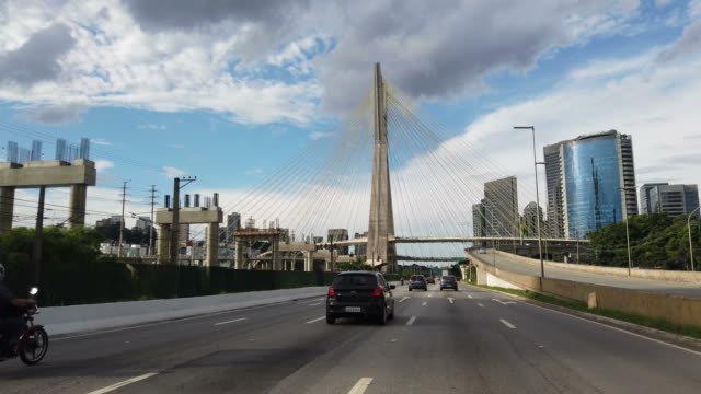 cable-stayed bridge at sao paulo city - cable stayed bridge stock videos & royalty-free footage