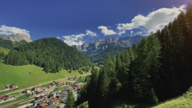 cableway on the dolomites: views of the sella group mountains of val gardena - val gardena video stock e b–roll