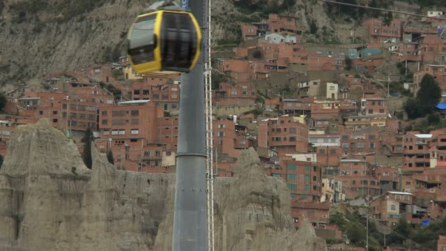 cableway passing by with poor suburbs in the background in la paz bolivia - la paz region la paz stock-videos und b-roll-filmmaterial