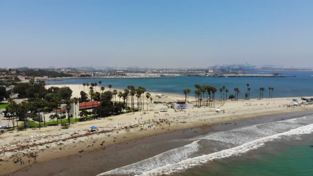 cabrillo beach, san pedro, california - long beach california video stock e b–roll