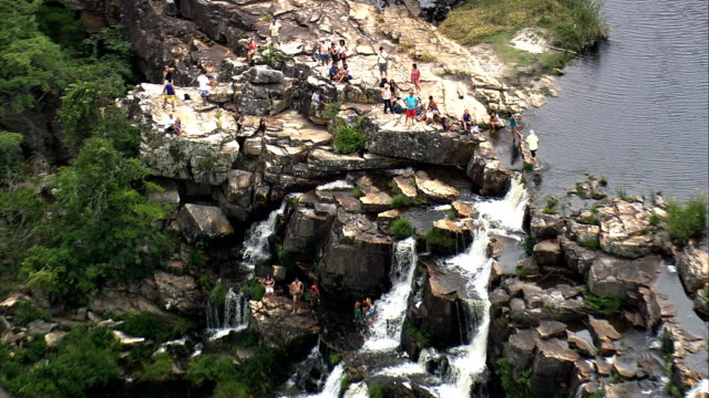cachoeira grande  - aerial view - minas gerais, santana do riacho, brazil - riacho stock videos and b-roll footage