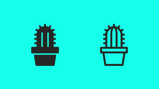 cactus icons - vector animate - cactus icon stock videos & royalty-free footage