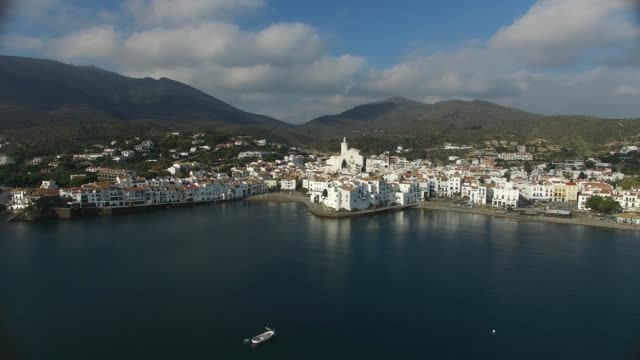 cadaqués from the air - fishing village stock videos and b-roll footage