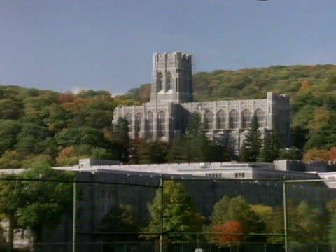 Cadet Chapel w/ trees BG ZO LS Cadet Chapel w/ outdoor tennis courts FG