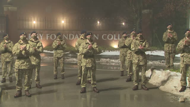 cadets clap to mark the death of captain sir tom moore from coronavirus, outside harrogate's army foundation college where he was honourary colonel - cadet stock videos & royalty-free footage