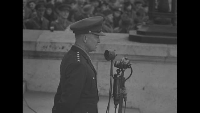 cadets march into the old college building at royal military college / gen dwight eisenhower salutes as he exits the building / ws two cadets precede... - music stand stock videos and b-roll footage