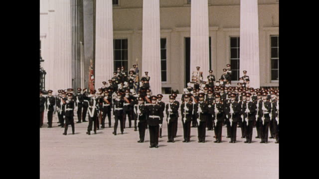 montage cadets marching in a passing out military parade with inspection by princess marina in sandhurst / united kingdom - military parade stock videos & royalty-free footage