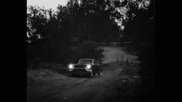 1957 cadillac driving on dirt road passing through forest at dusk - キャデラック点の映像素材/bロール