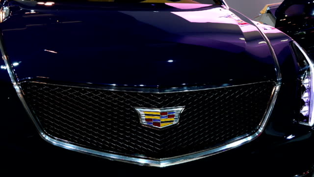 cadillac elmiraj in the canadian international autoshow which is canada's largest automotive show held annually at the metro toronto convention... - strategia di vendita video stock e b–roll