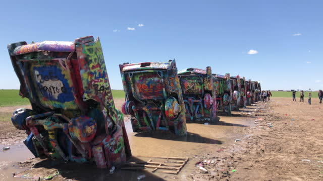 cadillac ranch under bright sunlight in 2021. - pursuit concept stock videos & royalty-free footage