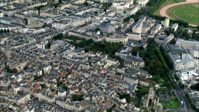 caen  - aerial view - lower normandy, calvados, arrondissement de caen, france - calvados stock videos and b-roll footage