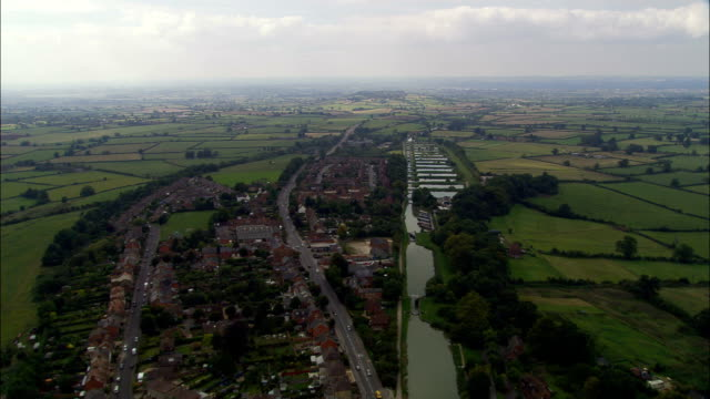 caen hill flight of locks  - aerial view - england, wiltshire, rowde, united kingdom - somerset stock videos & royalty-free footage