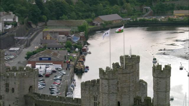 AERIAL Caernarfon Castle, Caernarfon, Gwynedd, Wales