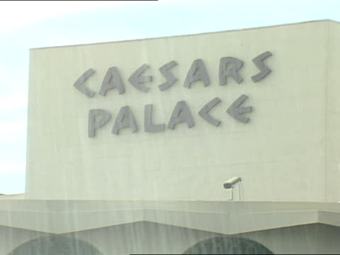 caesars palace in las vegas displays banners of don lalonde and sugar ray leonard before their fight in november 1988 - caesars palace las vegas stock videos & royalty-free footage