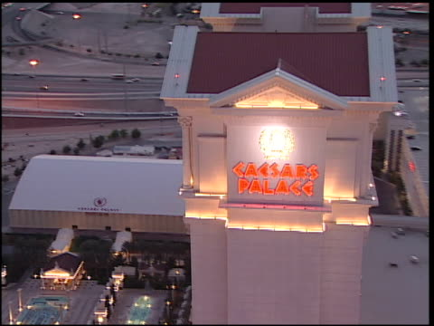 Caesars Palace sign on side tower while moving to south side of building Mirage BG
