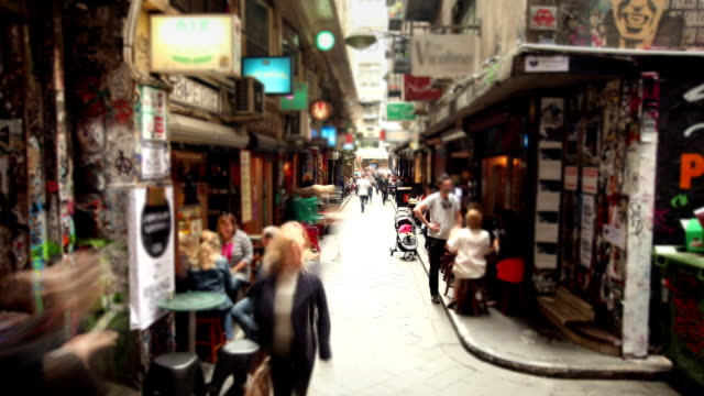 cafe laneway in melbourne, australia - urban road stock videos & royalty-free footage