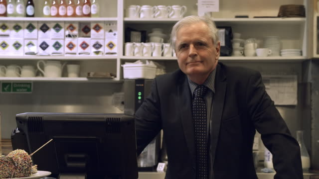 cafe owner senior man - white hair stock videos and b-roll footage