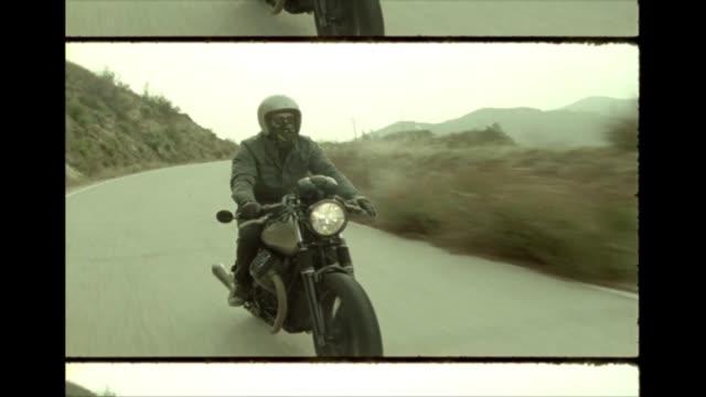 cafe racer motorcycle on 16mm film - 古風点の映像素材/bロール