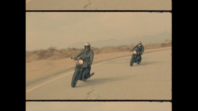 stockvideo's en b-roll-footage met cafe racer motorcycles on 16mm film - 30 39 jaar