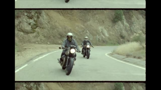 cafe racer motorcycles on 16mm film - crash helmet stock videos and b-roll footage