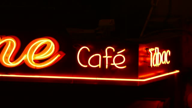 cafe sign at night, paris, france, europe - neon video stock e b–roll
