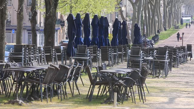 cafe terraces are closed due to government restrictions the chateau de versailles amid a covid-19 outbreak on april 21, 2021 in versailles, france.... - politics illustration stock videos & royalty-free footage