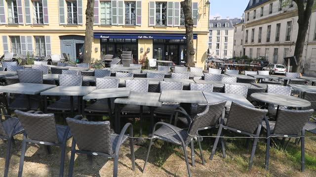 cafe terraces closed due to government restrictions the chateau de versailles amid covid19 outbreak on april 21, 2021 in versailles, france. france's... - politics illustration stock videos & royalty-free footage