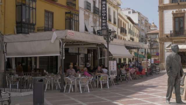 cafes in plaza del socorro, ronda, andalucia, spain, europe - pavement cafe stock videos and b-roll footage