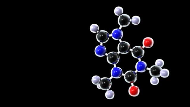 vídeos de stock, filmes e b-roll de caffeine molecule - molécula de cafeína