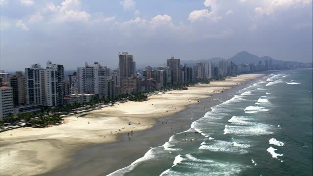 caicara beach and resort  - aerial view - são paulo,praia grande,brazil - são paulo stock videos and b-roll footage