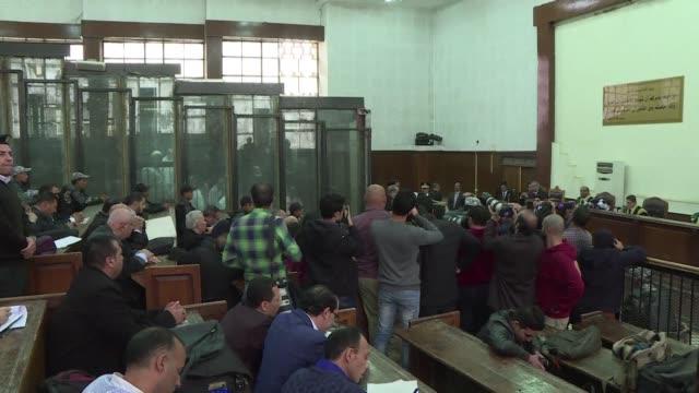 cairo court recalls former egyptian president hosni mubarak to testify in morsi's case - court stock videos & royalty-free footage