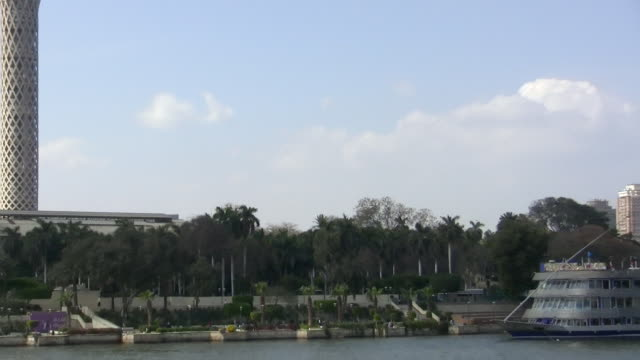 zo, ws, cairo tower across nile river, cairo egypt - naga river stock videos and b-roll footage
