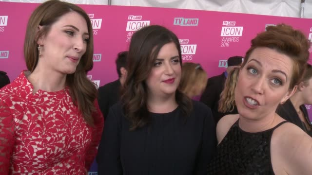 interview caitlin barlow katy colloton cate freedman on what they are most looking forward to and what makes an icon at tv land icon awards arrivals... - tv land awards stock videos and b-roll footage