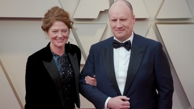 caitlin feige, kevin feige at dolby theatre on february 24, 2019 in hollywood, california. - ドルビー・シアター点の映像素材/bロール