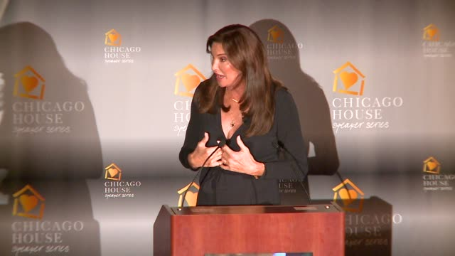 caitlyn jenner speaking at the annual luncheon of chicago house, an organization that helps the lqbt community and those living with hiv/aids, on... - 2015 stock videos & royalty-free footage