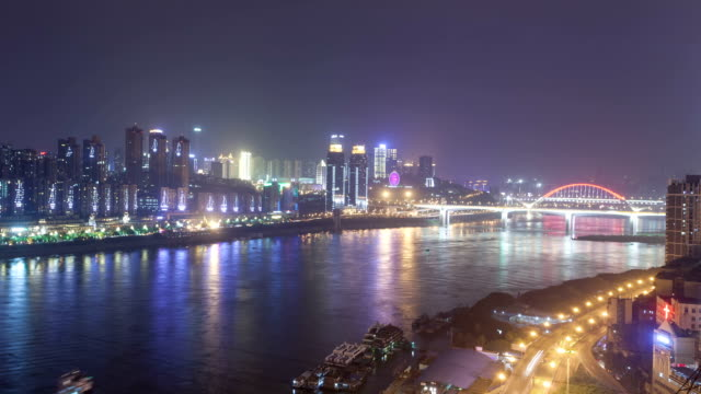 t/l ws zi caiyuanba and shibanpo bridge foggy night / chongqing, china - arch bridge stock videos and b-roll footage