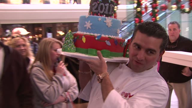 'cake boss' buddy valastro makes special delivery to continental vip lounge from chase short hills nj united states - reality fernsehen stock-videos und b-roll-filmmaterial