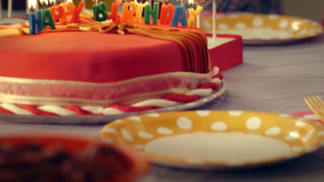 cake with lit happy birthday candles on it - paper plate stock videos & royalty-free footage