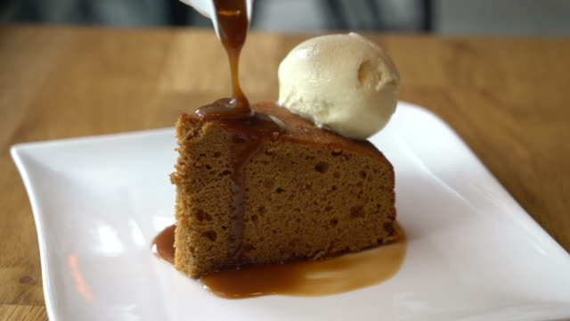 cake with vanilla ice-cream with toffee caramel sauce