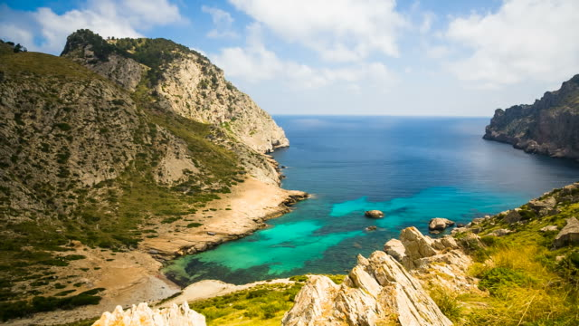 cala figuera (pollença) - majorca/spain - inlet stock videos & royalty-free footage