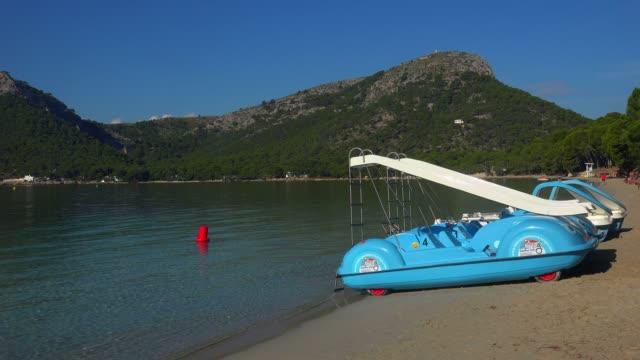 cala pi de la posada, cap formentor, majorca, balearic islands, spain, mediterranean, europe - paddle boat stock videos & royalty-free footage