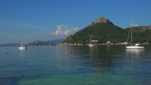 cala pi de la posada, cap formentor, majorca, balearic islands, spain, mediterranean, europe - stationary点の映像素材/bロール