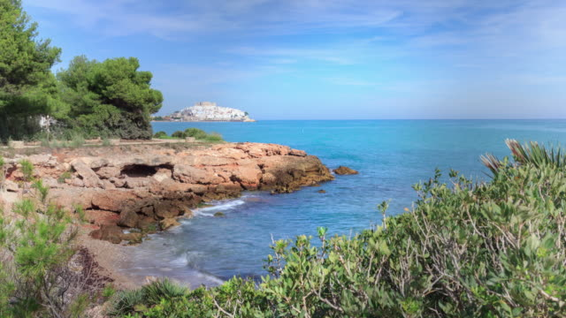 cala puerto azul in the city of peniscola - azul stock videos & royalty-free footage