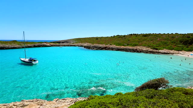cala varques on east coast on spanish balearic island of majorca / spain - balearic islands stock videos and b-roll footage