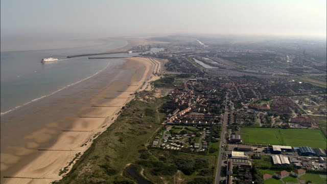 calais and harbour  - aerial view - nord-pas-de-calais, france - calais stock videos and b-roll footage