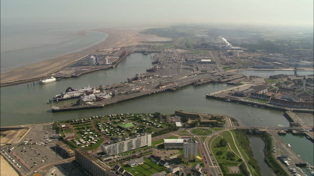 aerial, calais harbor, pas de calais, france - english channel stock videos & royalty-free footage