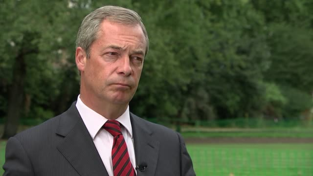 nigel farage interview england london ext nigel farage mep interview sot - calais stock videos and b-roll footage