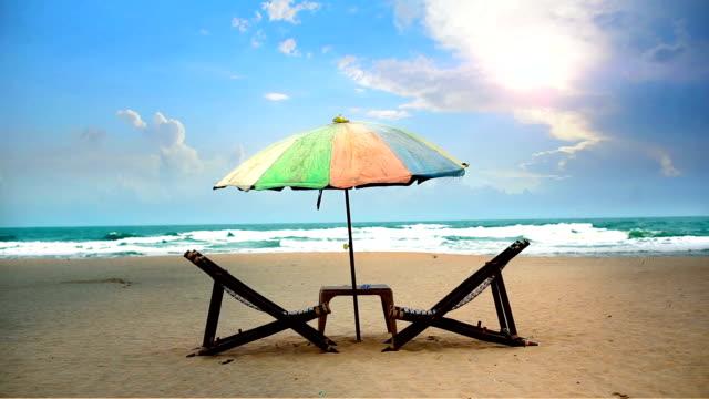 calangute beach, goa - beach umbrella stock videos and b-roll footage