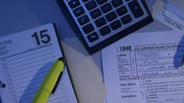 CO, CU, HA, Calculator and 1040 tax form on table at night, directly above