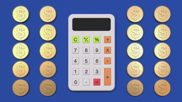 calculator cartoon style 3d rendering flat lay scene business finance education mathematics - calculator stock videos & royalty-free footage